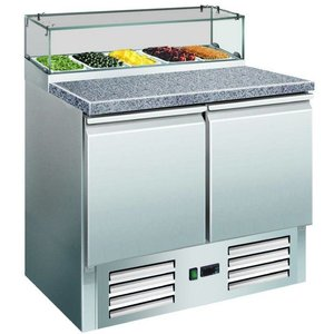Saro Table pizza with a glass site - 2 door | + 2 ° to + 8 ° C | 5x GN 1/6