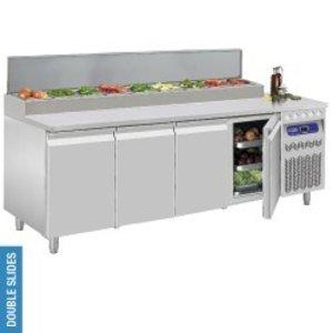 Diamond Umluft -Kühltisch, 4 Türen GN 1/1, 550 Liter & Kühleinheit 10x GN 1/6