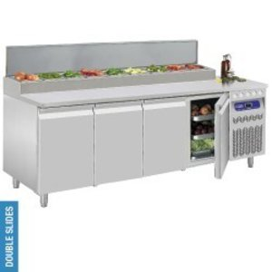 Diamond Ventilated refrigerated table, 4 doors GN 1/1, 550 liters & refrigerated structure 10x GN 1/6