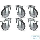 Diamond Kit of 6 stainless steel castors, swiveling, 2 with brakes