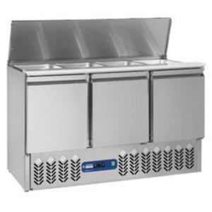 Diamond Refrigerated saladette 4x GN 1/1 - 150 mm, saladette well 3 doors GN 1/1, 380 liters