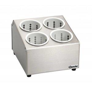 Bartscher Container für Bestecke mit 4 Tassen - Chrom-Nickel-Stahl -. Höhe 200 mm