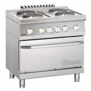 Bartscher 4 elektrische kookplaten met elektrische oven 2/1 GN