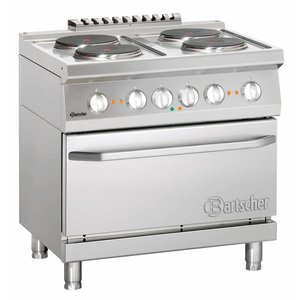 Bartscher Electric stove, 4 hot-plates with electric oven 2/1 GN