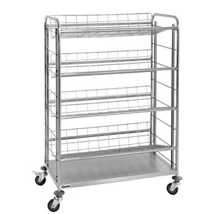 Bartscher Bottle crate trolley with 4 grid shelves