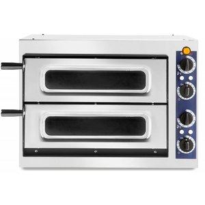 Hendi Piec do pizzy Basic 2/40 Vetro | 2-komorowy | 2x32cm | 2400W | 230V | 568x500x(H)430mm