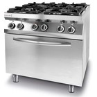 Hendi Gas stove 4-burner with convection oven, electric GN1 / 1 | 19 + 3kW | 800x700x (H) of 900mm