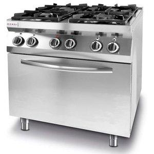 Hendi Kuchnia gazowa 4-palnikowa z konwekcyjnym piekarnikiem elektrycznym GN1/1 | 19+3kW | 800x700x(H)900mm