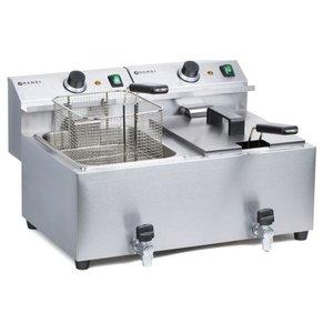 Hendi Frytownica Mastercook z kranem spustowym oraz zimną strefą | 2 x 8L | 2x3500W | 230V