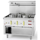 Diamond Gas cooker WOK 3-burner with a water jacket and an open base | 23.8 + 2x 1x 11,25kW | 1100x900x (H) 760/1300