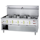 Diamond Gas cooker WOK 5-burner with a water jacket and an open base | 3x 23.8 + 2x 11,25kW | 1800x900x (H) 760/1300