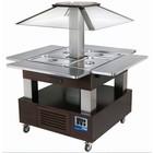 Diamond Wyspa chłodnicza bar sałatkowy | 4X GN 1/1(H)150 | Drewno Wenge | +2° +10° | 500W | 1435x1435x(H)1540mm