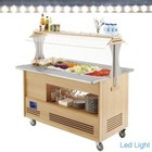 Diamond Refrigerated salad bar | 4x GN 1/1 (H) 150mm | Bright Wood | + 2 ° + 10 ° | 500W | 1440x660 (960) x (H) 1405mm