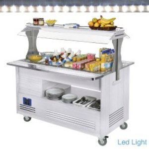 Diamond Chłodniczy bar sałatkowy | 4x GN 1/1(H)150mm | Białe Drewno | +2° +10° | 500W | 1440x660(960)x(H)1405mm
