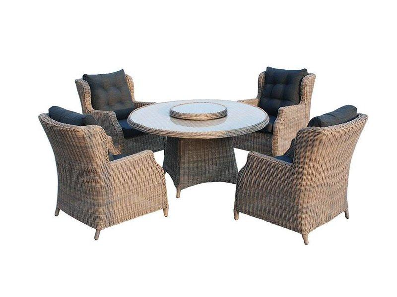 SenS-Line Dining set Chesterfield Polyrattan 4-Sitzer 5-teilig braun