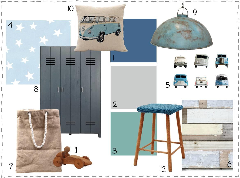 Moodboards inspiratie jongenskamer wonen voor jou - Blauwe en grijze jongens kamer ...