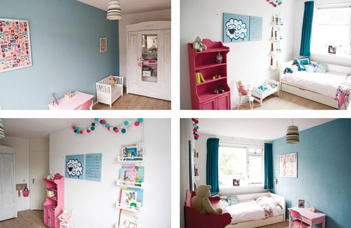 Slaapkamer Grijs Roze : Meisjeskamer in roze met grijs wonen voor jou