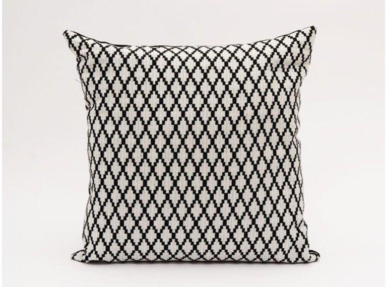 Kussen zwart met grijs patroon