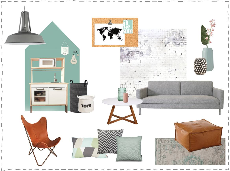 Moodboard woonkamer met aquagroene accenten