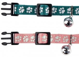 Trixie Reflecterend halsbandje met pootjes print roze