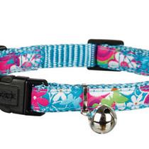 Halsbandje voor de kat met bloemen print blauw
