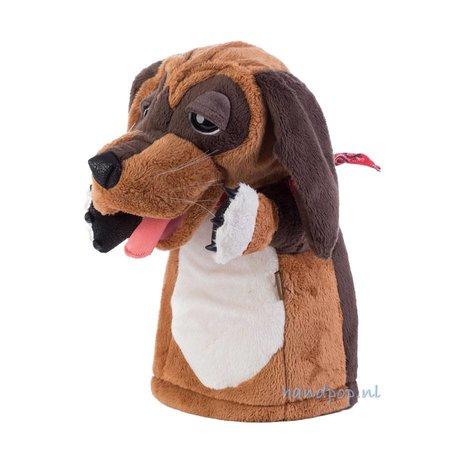 Folkmanis handpop hond met hangoren en rode zakdoek