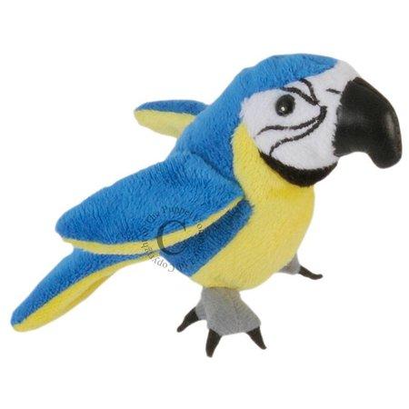 The Puppet Company vingerpopje blauw met gele papegaai
