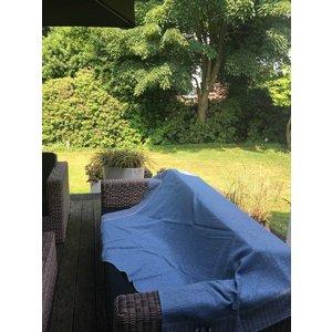 David Fussenegger NOVA plaid met visgraat - blauw gemêleerd