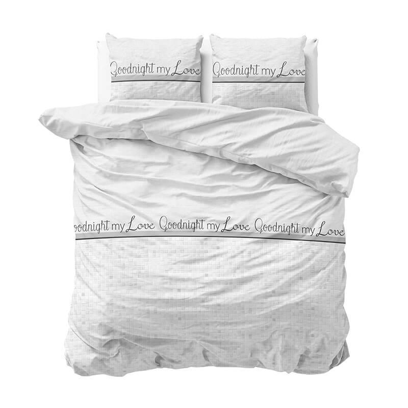 Sleeptime Goodnight My Love - Wit 1-persoons (140 x 220 cm + 1 kussensloop) Dekbedovertrek
