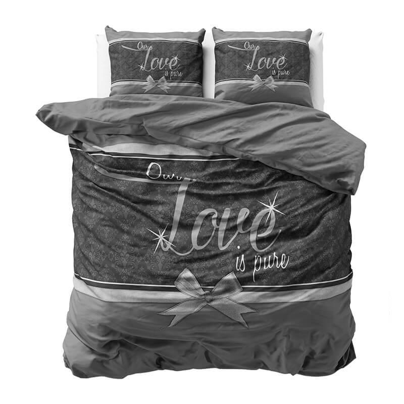Productafbeelding voor 'Sleeptime Pure Love - Grijs 2-persoons (200 x 220 cm + 2 kussenslopen) Dekbedovertrek'