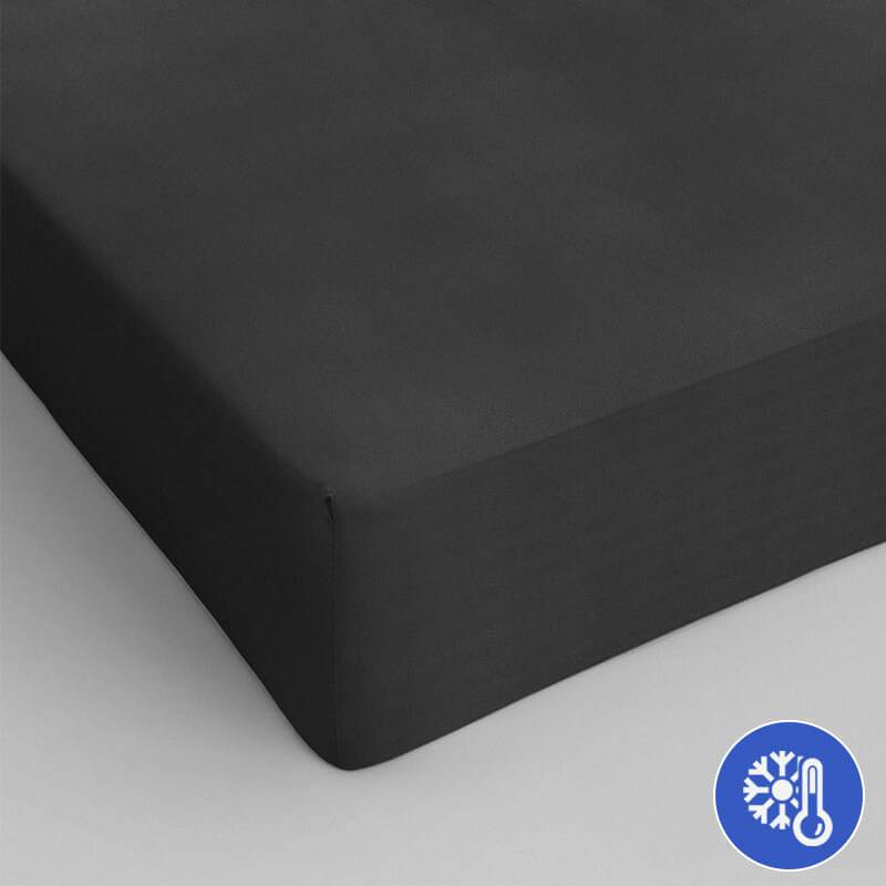 DreamHouse Bedding Verkoelend Hoeslaken Katoen - Zwart 180 x 220