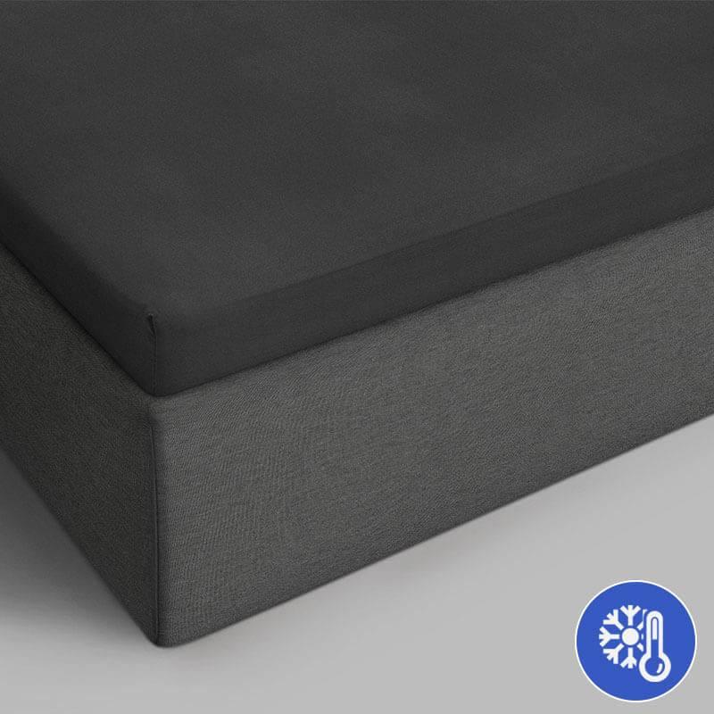 Productafbeelding voor 'DreamHouse Bedding Verkoelende Katoenen Topper Hoeslaken - Antraciet 90 x 220 Dekbedovertrek'