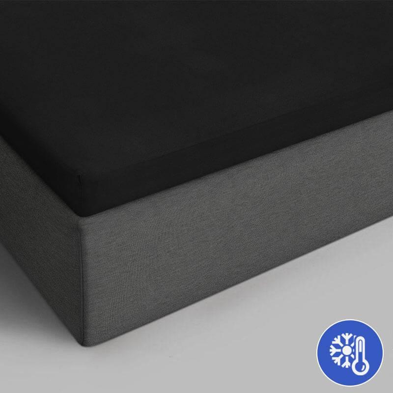 Verkoelende Katoenen Topper Hoeslaken - Zwart