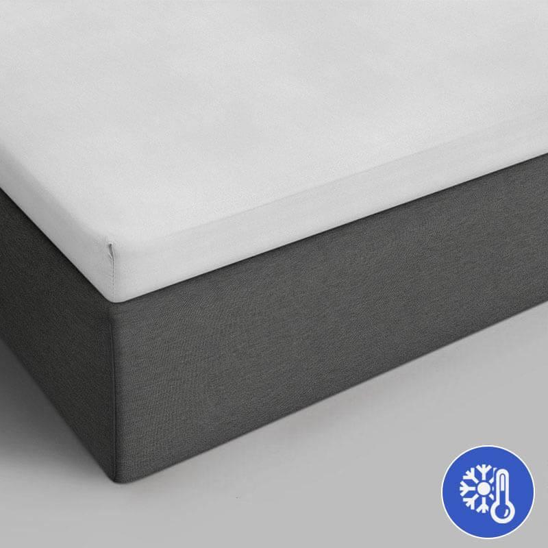 Verkoelende Katoenen Topper Hoeslaken - Wit
