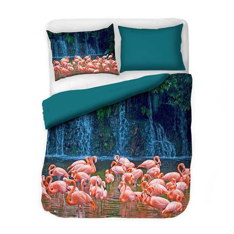 DLC Flamingoals 2 persoons (200 x 220 cm 2 kussenslopen) Dekbedovertrek