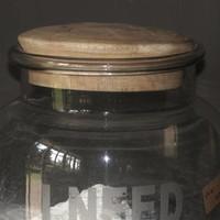 Glazen voorraad pot met houten stop