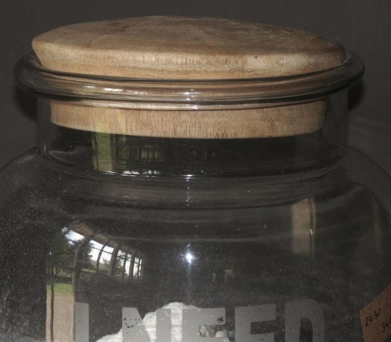Glass stock jar with wooden stopper