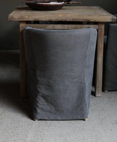 Kuipstoeltje met stonewash grijze hoes