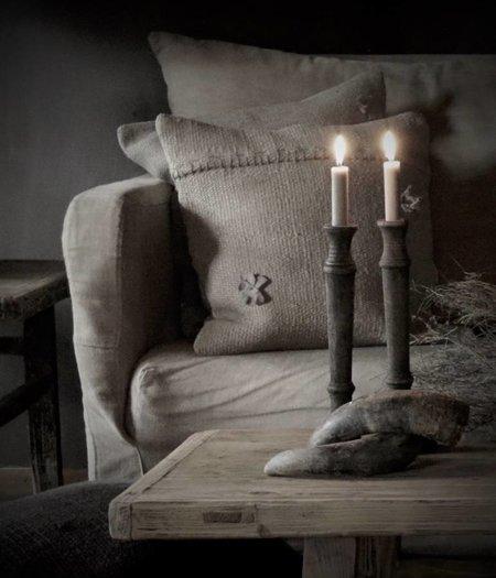 Korte Kaarsen in de kleur linnen/Zwart a 7stuks