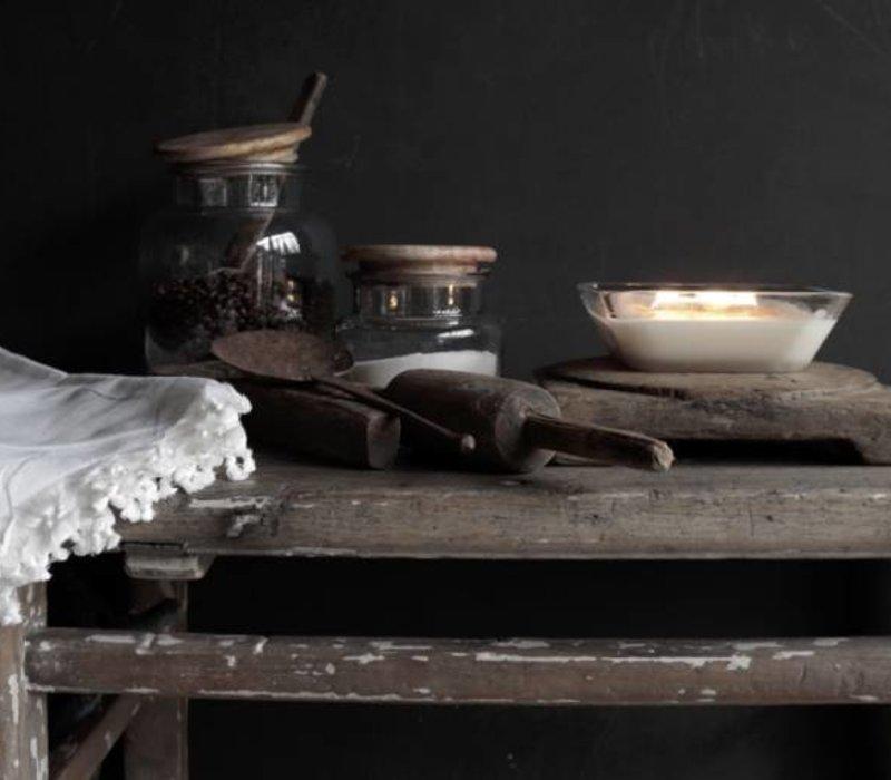 Glazen voorraad pot met houten deksel