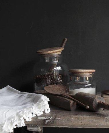 Mooie Stoere Glazen voorraad pot met houten deksel