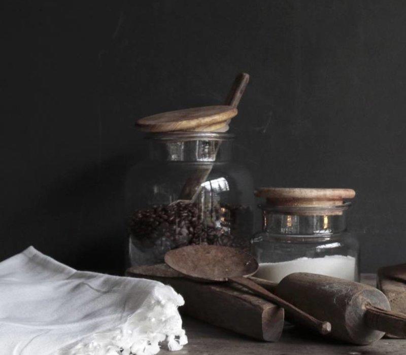 Glazen voorraad pot met houten deksel herberslifestyle - Deksel x ...