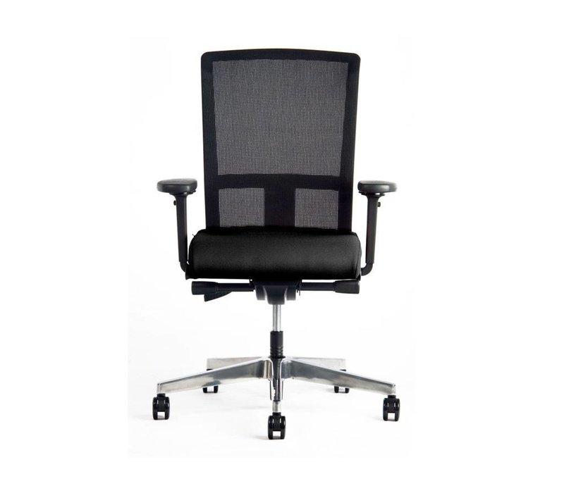 Bureaustoel met netbespanning en armleuningen - zwart
