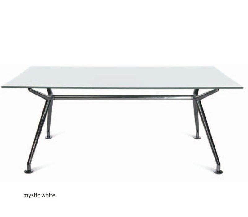 w table en verre blanc mystique brand new office. Black Bedroom Furniture Sets. Home Design Ideas