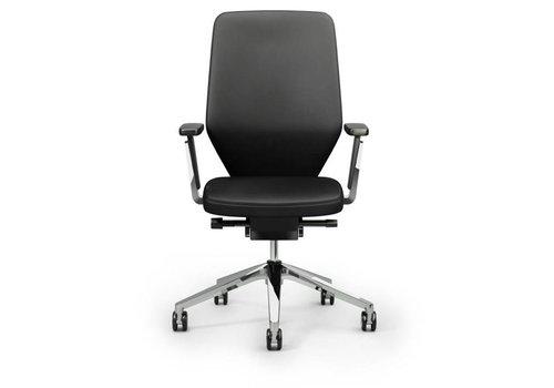 Giroflex 656 bureaustoel leder met armleuning
