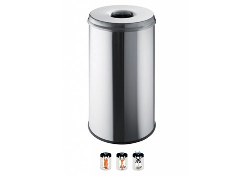 Helit Veiligheid afvalbak 50L RVS