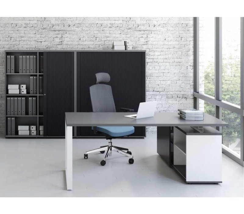 ogi q bureau avec meuble bas brand new office. Black Bedroom Furniture Sets. Home Design Ideas