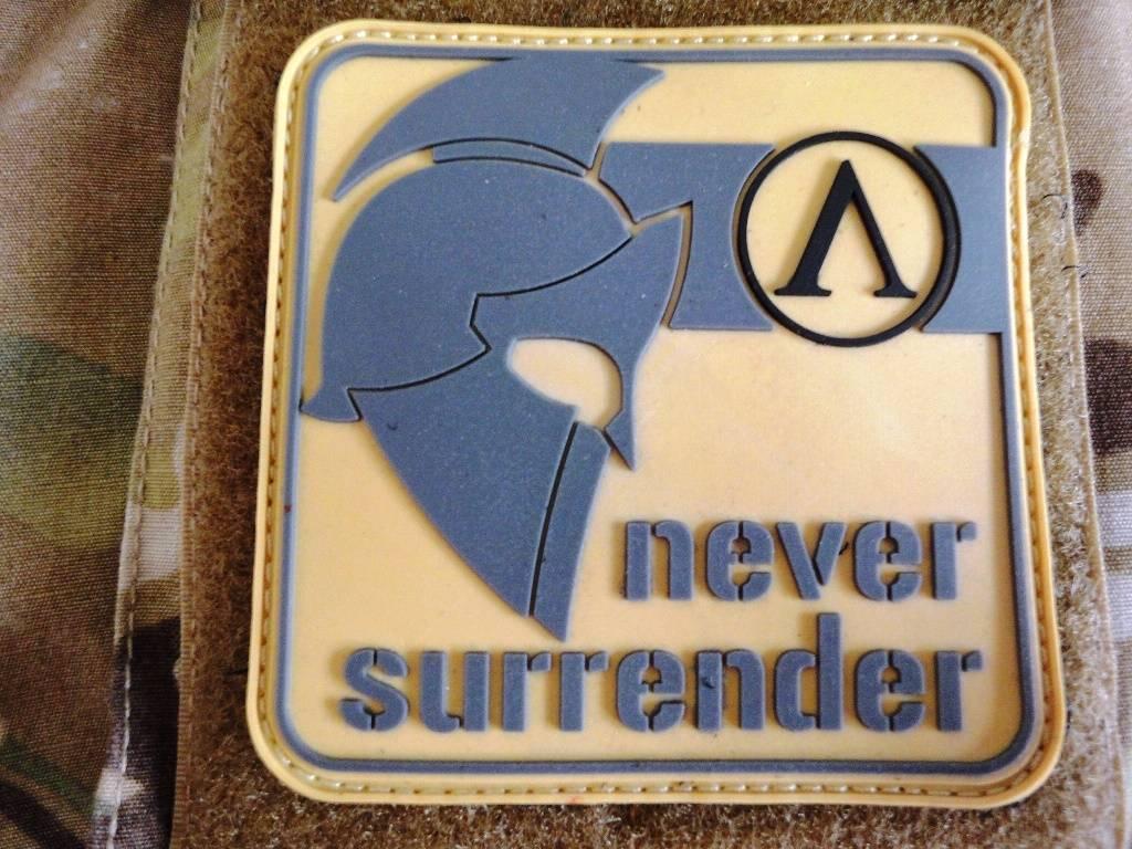 Velcro 3D Rubberpatch Never Surrender Desert Grey