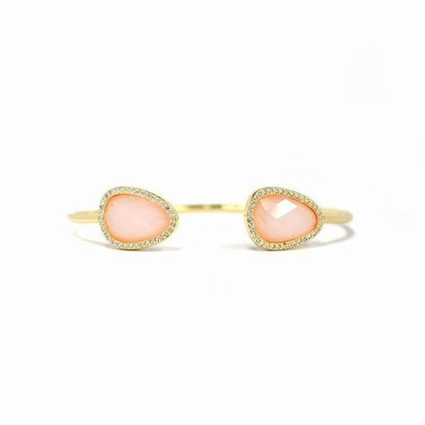 MELANIE AULD PAVE NATURAL STONE CUFF IN PINK OPAL