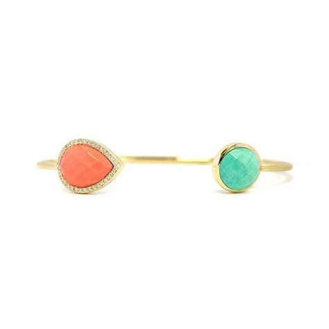 MELANIE AULD CIRCLE TEAR CUFF IN CORAL & TURQUOISE